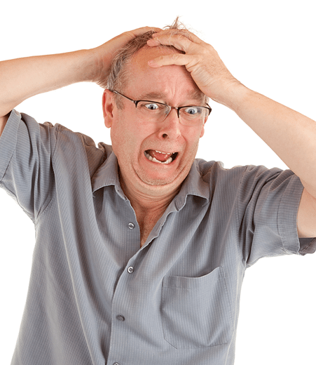 Upset Man With Hands On Head