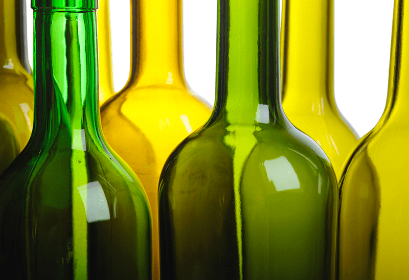 Cleaned and sanitized wine bottles.