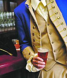 Revolutionary Figure Holding Beer