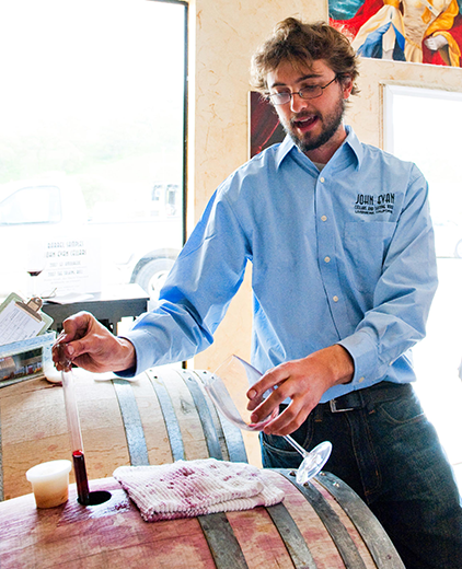 Winemaking terms being explained by winemaker