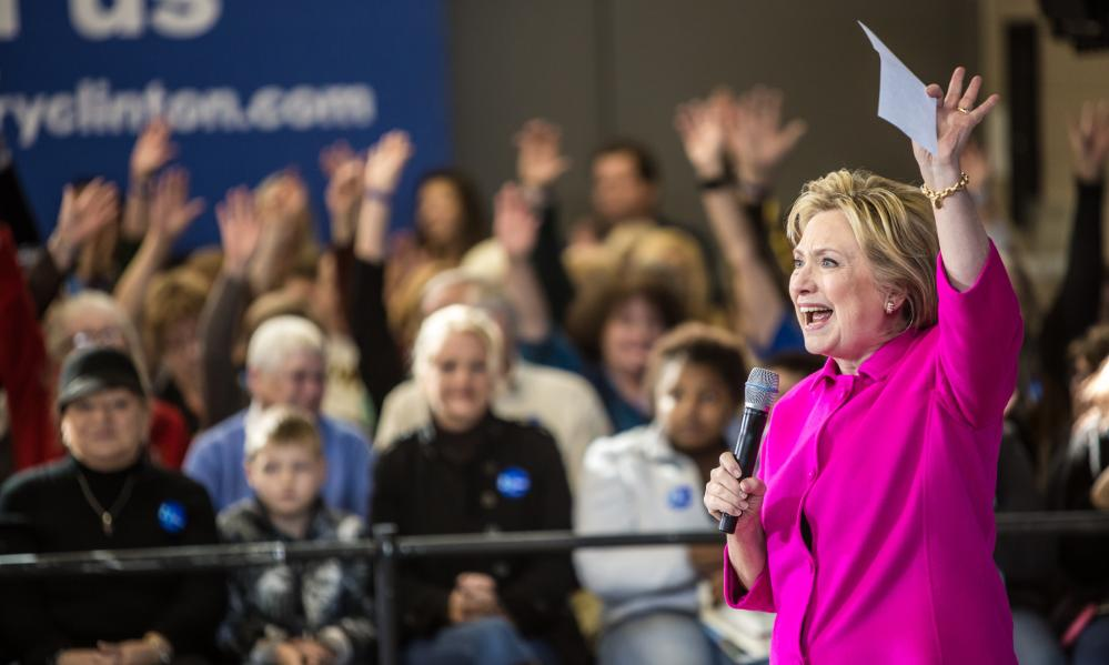 Hillary Clinton speaks at a campaign organizing event in Clinton.