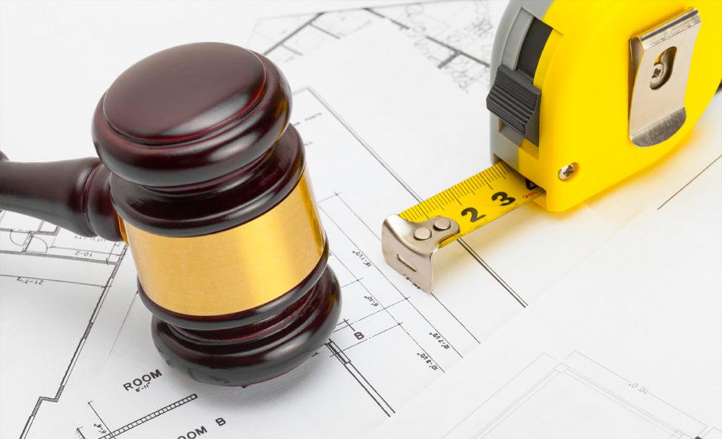 Construction law gavel & blueprints picture