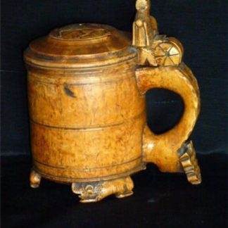 18th century birch burl Norwegian tankard.