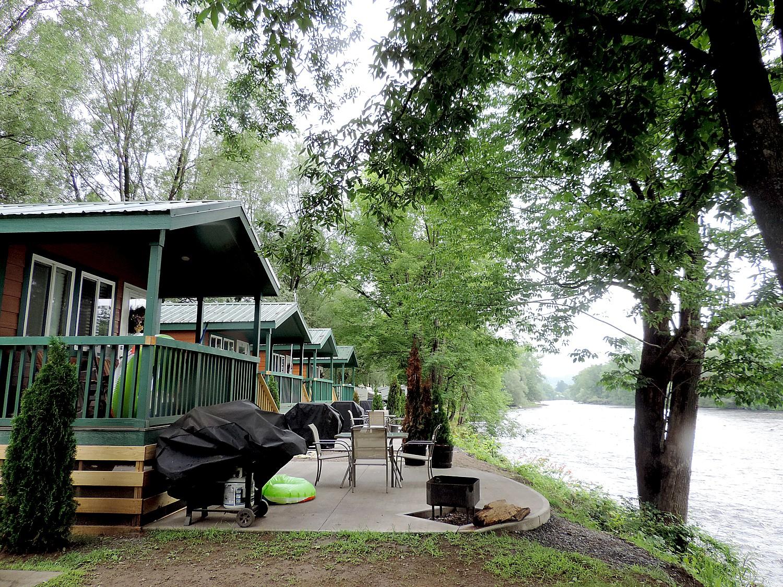 Bucolic setting - the newest themed Herkimer Diamond KOA cabins hug the West Canada Creek © 2015 Karen Rubin/news-photos-features.com