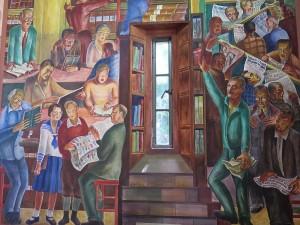 The Great Depression-era murals inside San Francisco's Coit Tower on Telegragh Hill © 2015 Karen Rubin/news-photos-features.com