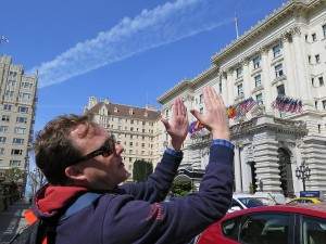 Hudson Bell of Fern Hill Walking Tours, in front of the Fairmont Hotel © 2015 Karen Rubin/news-photos-features.com