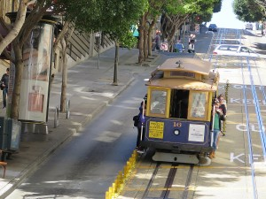 """San Francisco's cable cars are literally """"rolling museums."""" San Francisco is the only city where cable cars are still used on city streets. © 2015 Karen Rubin/news-photos-features.com"""