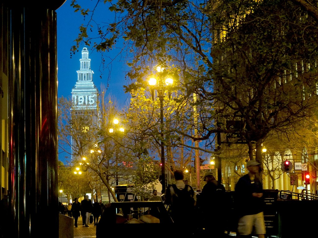 San Francisco's historic ferry building lit up to commemorate the 1915 World's Fair. The city has hosted many fairs which has resulted in a cultural legacy and shaped its landscape © 2015 Karen Rubin/news-photos-features.com