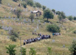 Coming upon a funeral procession in the Albanian countryside © 2016 Karen Rubin/goingplacesfarandnear.com
