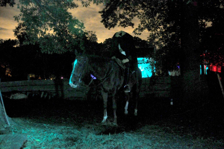 The Headless Horseman comes out of the shadows at Horseman's Hollow, at Philipsburg Manor in Sleepy Hollow, NY © 2016 Karen Rubin/goingplacesfarandnear.com