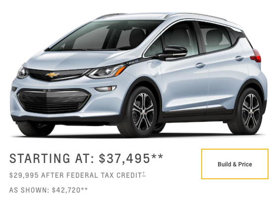 Chevy Bolt-starting price