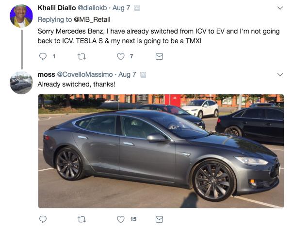 Mercedes-Benz tweet response - Model S photo