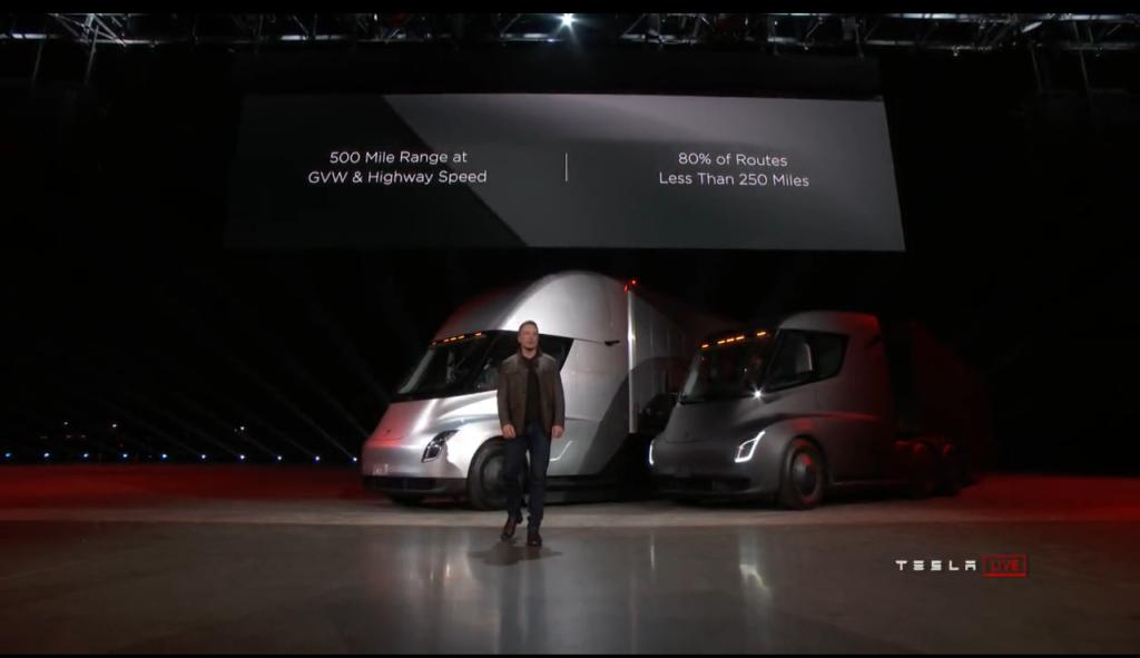 80% of routes less than 250 miles - Tesla Semi announcement