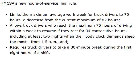 US truck driver laws 8 hours 30 minute break