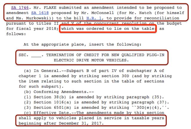 Senate Bill Amendment SA 174 - 6EV Tax Credit Lie on the table