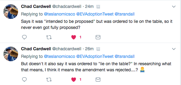 Twitter exchange - Senate Tax Bill EV Credit amendment