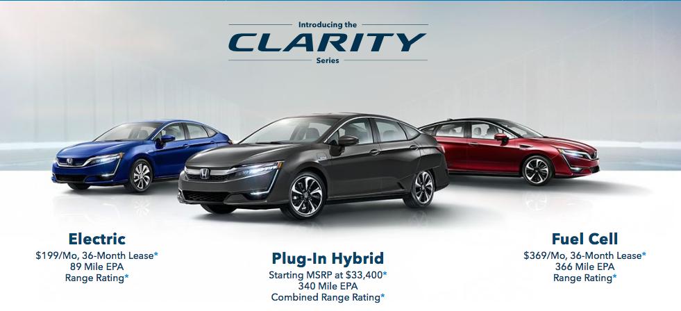 Honda Clairty - website pricing and range-BEV-PHEV-FCV