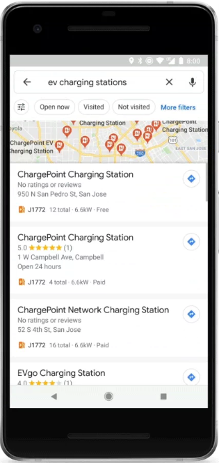 Google Maps EV charging stations search results