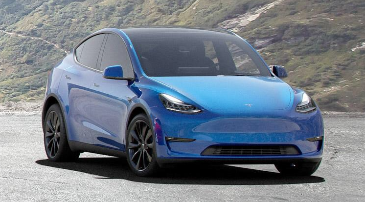Tesla Model Y - blue - front and side