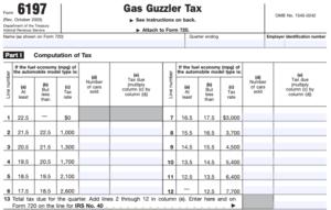 Gas Guzzler IRS tax form