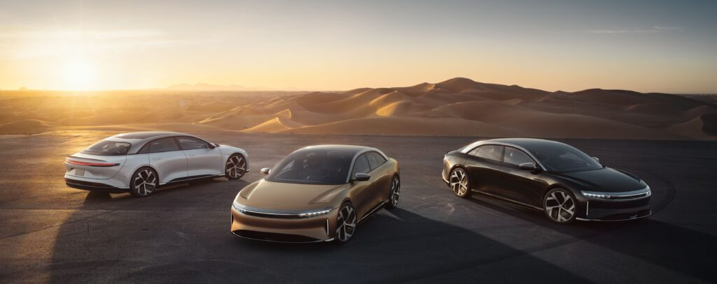 Lucid-Air-3-models-with-sunset