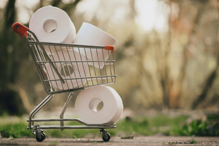 toilet paper in cart