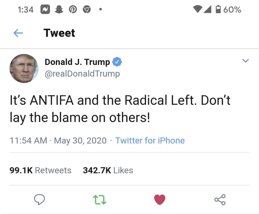 Trump on Twitter about antifa and radical left