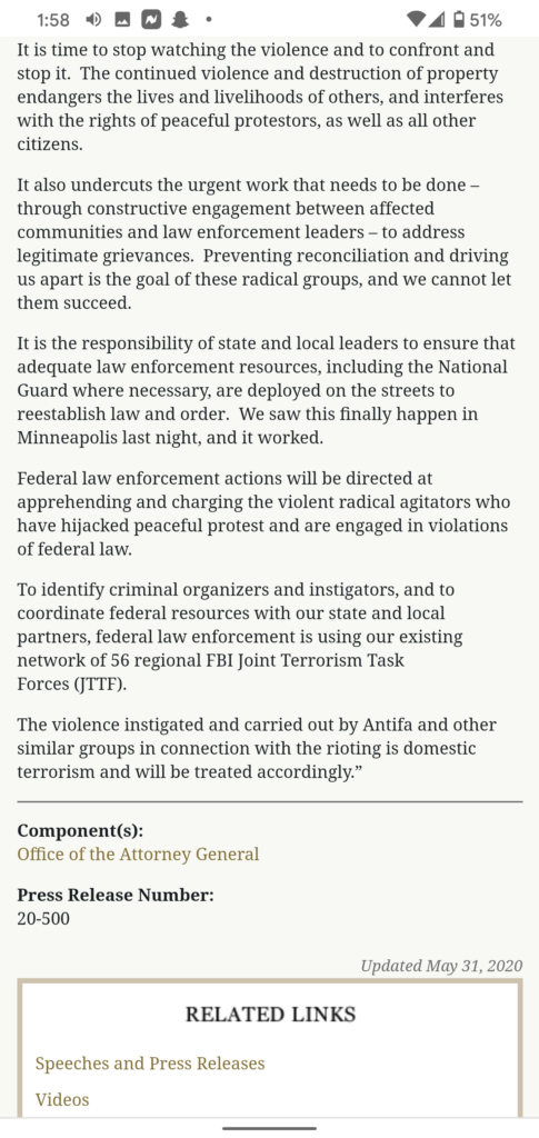 AG Bill Barr press release on Riots and Domestic Terrorism Part 2