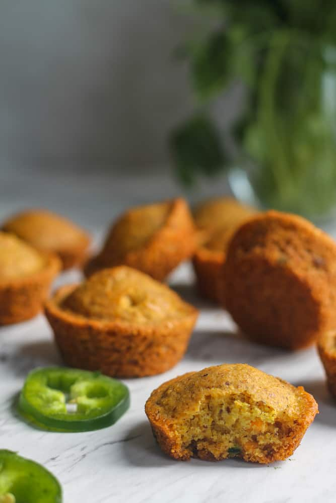 vegan cornbread muffins with jalapenos and cheddar cheese