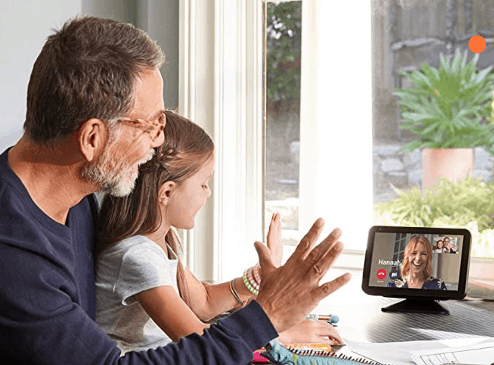 grandfather and granddaughter talking to mom on the Amazon Echo Show