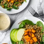 Roasted Sweet Potato Farro Salad with apples and rosemarry