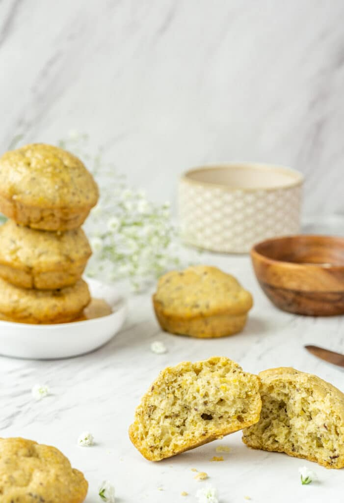 cornbread muffins with butter & maple syrup