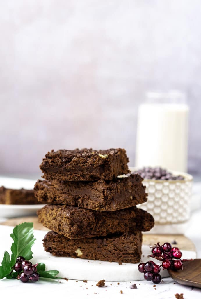 vegan brownie recipe with chocolate chips and oat milk