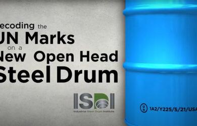 UN marks on a steel drum