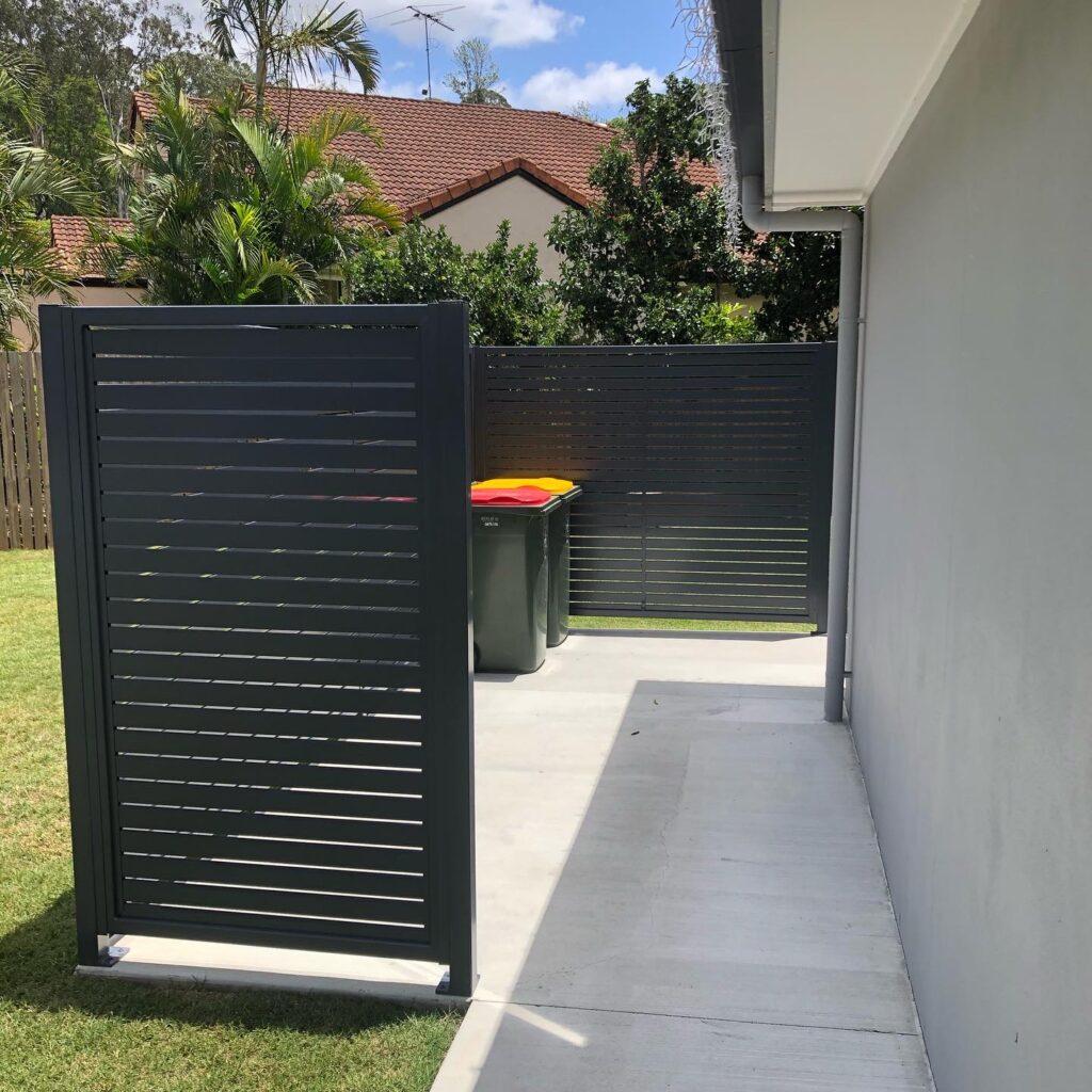 aluminium slat fence powder coated - clothesline area