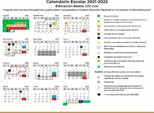 CALENDARIOS ESCOLARES PARA EL CICLO LECTIVO 2021-2022