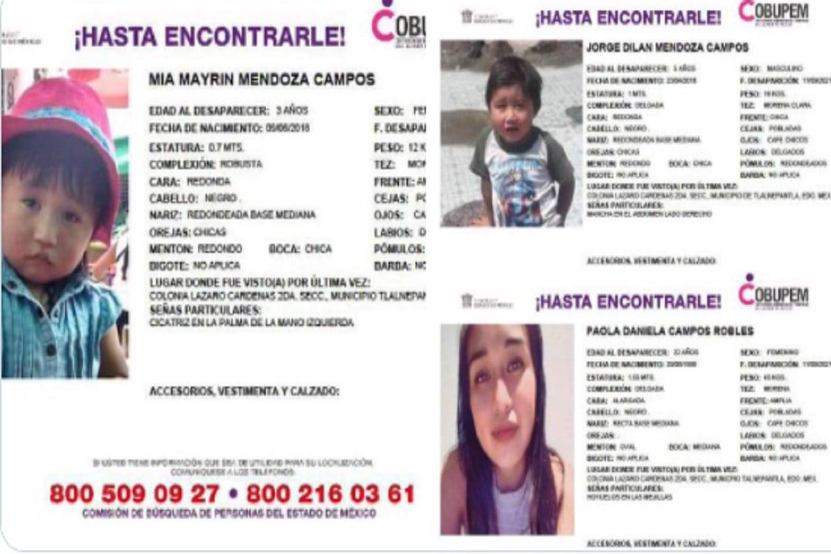 Paola Campos Robles, Mía Mairyn y Jorge Dilan Mendoza Campos