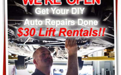 Lift Rental Discounts-Our DIY Auto Repair Shop is Open during the Corona Virus Quarantine