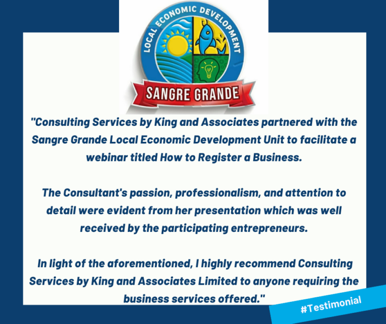 Testimonial for Consulting Services by King and Associates Limited