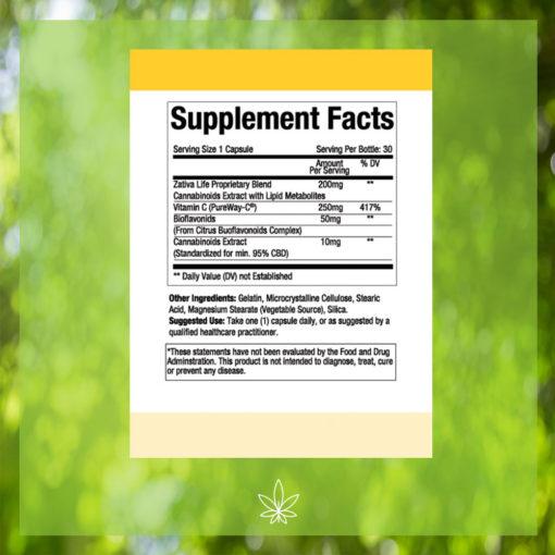 Advanced-Vitamin-C-300mg-CBD-Capsule-Supplement-Facts -label