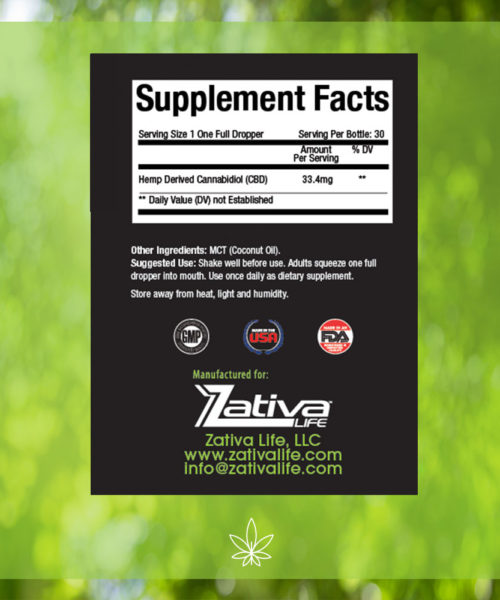 Zativa 1000 mg 30ml Peppermint Flavor-supplement-facts-label