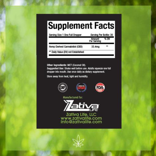 Zativa 1000 mg 30ml Peppermint Flavor-supplement-facts-label