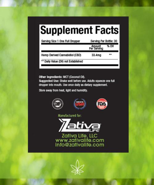 Zativa 1000mg 30ml Original Flavor-supplement-facts-label