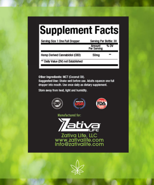 Zativa 1500 mg 30ml Peppermint Flavor-supplement-facts-label