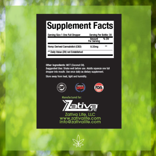 Zativa 250mg 30ml Peppermint Flavor-supplement-facts-label