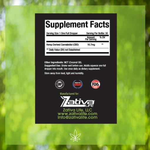 Zativa 500mg 30ml Original Flavor-supplement-facts-label