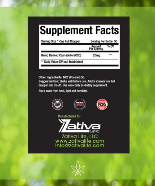 Zativa 750 mg 30ml Original Flavor-supplement-facts-label