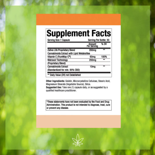 zativa-life-extra-strenght-energy-focus-300mg-CBD-Capsule-Supplement-Facts -label