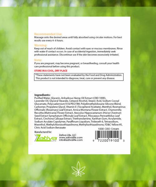 Zativa 1000 mg Pain Relief hemp Cream label back