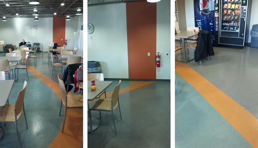 3-color swoosh floor design